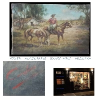 Interesting old Gaucho Argentino Pampa horses rancho oil canvas signed Cardoso