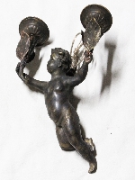 Interesting old bronze angel putto puttini lamp 29 cm x 20 x 10 cm approx.