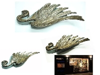 Stunning antique bronze wing on wooden base card holder ?