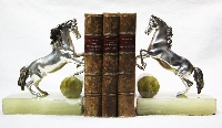 Interesting old Horses horse bronze silver plated book ends Onix base 15 x 18 cm