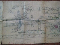 Old long chinese art pencil 2 meters x 43 cm
