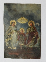 Interesting antique CUZCO ? oil on copper religiuos scene Holy Family miniature