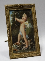 Franceschini omnia vincit amor old miniature oil on celluloid 12 cm x 9 cm