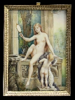 LA VÉRITÉ lovely naked lady and puttini old miniature signed R.B.