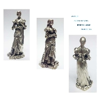 Lovely old french bronze silver plated small lady long dressed