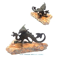 Nice antique small bronze dragon myth winged animal on marble base