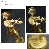 Young Violinist Mozart bronze ormolu figure signed G. Omer Ca 1890