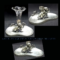Lovely antique angel Cupid putto puttini silver plated  glass flower holder vase tray
