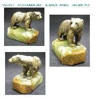 Very nice cute small french bronze bear figure on marble onix base RARE