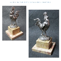 Interesting old bronze silver plated gallo cock crowing on marble base