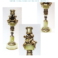 Lovely French old bronze  marble onix candle holder puttini putto 10 ´