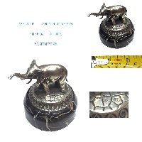 Lovely old silver small miniature elephant figure portoro marble base
