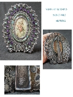 Stunning Matl Sala silver mexico Amethyst Turquoise picture frame 11 x 11 cm