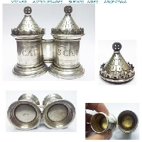 Antique silver Holy oils Chrismatory O. CAT S. CHR 3´´ / 8 cm 155 grs. Crismatorio