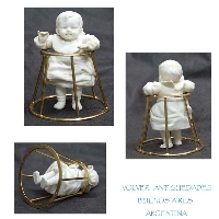 RARE Lovely antique German boy doll on brass baby walker VENDIDO / SOLD