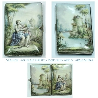Stunning Museum piece silver  enamel UNIQUE dancing card cupid love lady