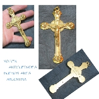 Rare bronze golden cross with Jesus Christ and angels on each corner