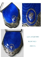 Stunning old French ? silver and blue enamel with leather handbag 12 cm x 12 cm