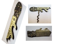 Unusual old EGYPT brass pharaoh Tutankamon corkscrew opener