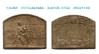 Argentina first kindergarten interesting old bronze medal plaque 1927 Oliva Navarro