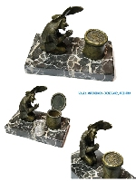 RARE funny character miserly bronze inkwell praying his coins on portoro base
