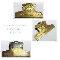 VENDIDO / SOLD INDUNIDAS SA Interesting old brass art deco paper clip 6,5 cm x 11 cm