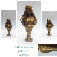 Interesting old Holy Virgin Mary Christian bronze wax seal signed R Jeannetot VENDIDO / SOLD