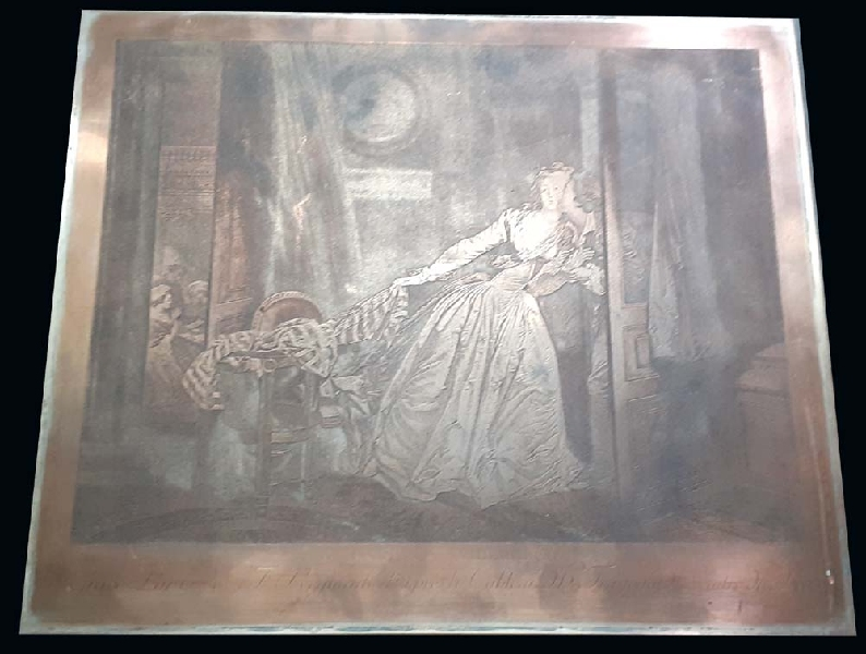 Arte / Art   Le Baiser a la Derobée Fragonard interesting copper engraving 24 cm x 28 cm