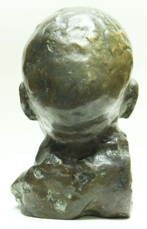 Arte / Art   Excellent antique crying baby french bronze head lost wax 8´´