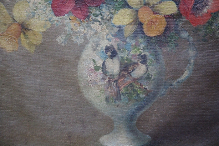 Arte / Art   Efren Apesteguía old oil canvas still life flowers birds Latin American Peruvian