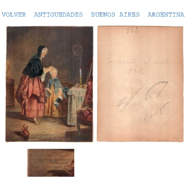 Arte / Art   Interesting old interior miniature mother arrenging her daughter signed MIMA ?