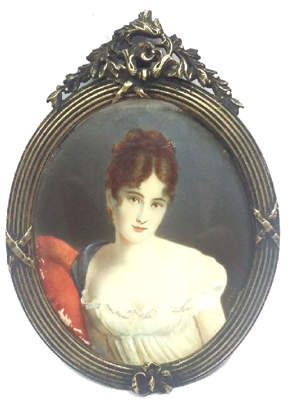 Arte / Art   Very interesting old pretty lady painting miniature bronze french frame