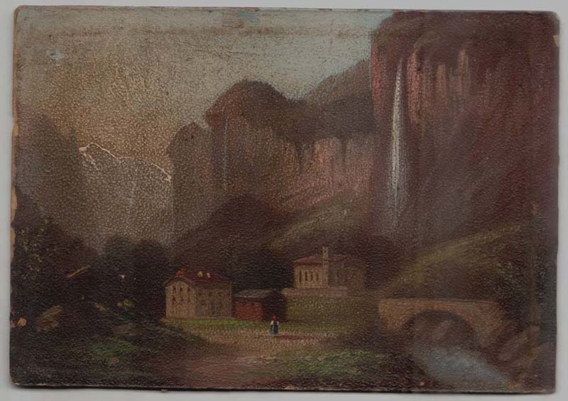 Arte / Art   Nice old Balve ? Germany view Europe oil cardboard miniature