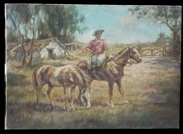 Arte / Art   Interesting old Gaucho Argentino Pampa horses rancho oil canvas signed Cardoso
