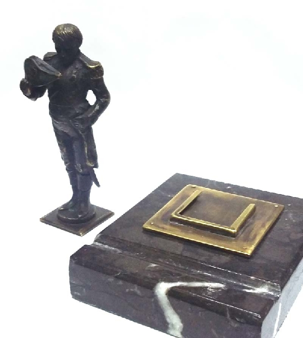 Coleccionables / Collectibles   Napoleon Bonaparte interesting old bronze seal wax pen stand marble base