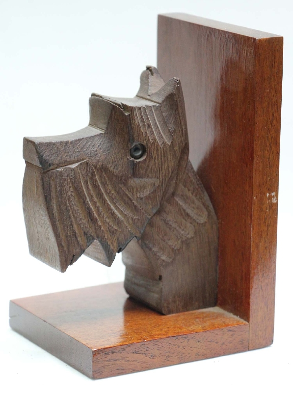 Coleccionables / Collectibles   Funny old art deco wooden scottie dog scottish terrier head bookends
