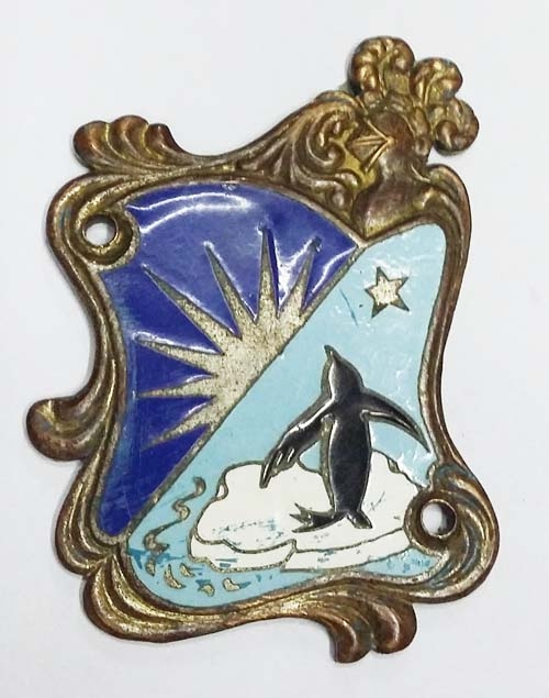 Coleccionables / Collectibles   Nice old brass bronze enamel plaque penguin pingüino island herald 3´´ x 2,5´´
