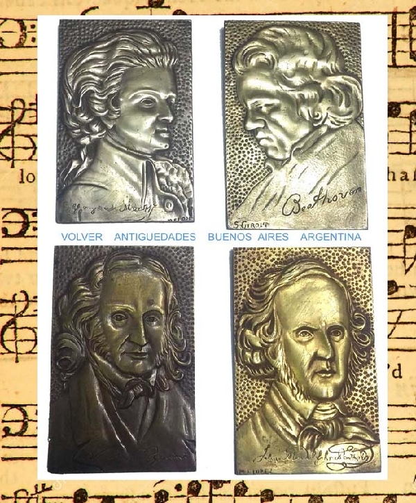 Coleccionables / Collectibles   Interesting old Beethoven Paganini  Mozart & ? musician bronze plaques 7´´ x 4´´