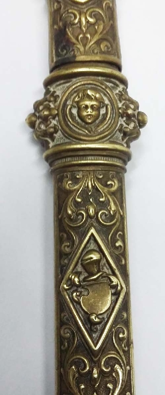 Coleccionables / Collectibles   Rare antique pharmacy brass thermometer holder heraldic putto 7´´ Ca 1880