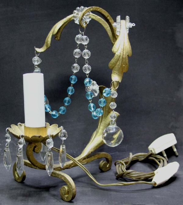 Iluminacion / Lighting   Lovely old iron & baby blue cristal pair of  bedside table lamps