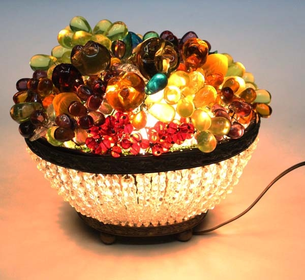 Iluminacion / Lighting   Interesting old CZ glass fruits conspicuous centre piece lamp 9´´ x 6´´ x 8´´