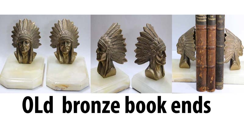 Bronce / Bronze / esculturas en general   Interesting old pair of bronze Indian Head feathers book ends