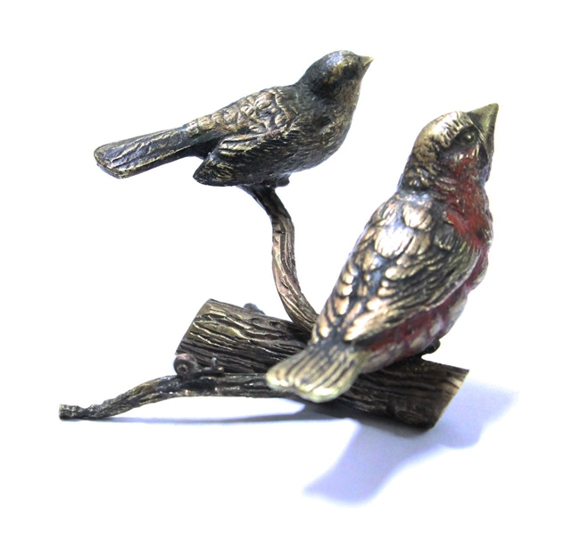 Bronce / Bronze / esculturas en general   Funny old French miniature bronze bird birds on branch and snail shell  VENDIDO / SOLD