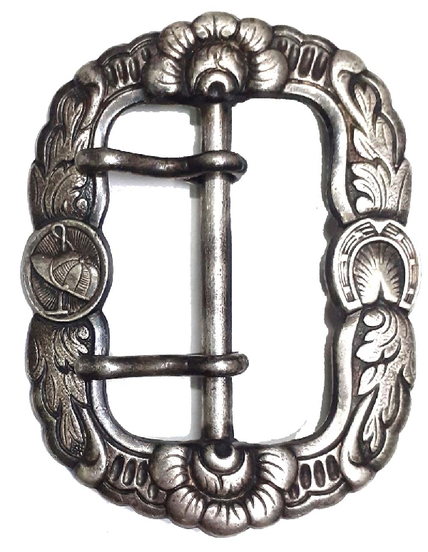 GAUCHO   Very interesting old gaucho polo horseshoe silver plated belt bukle