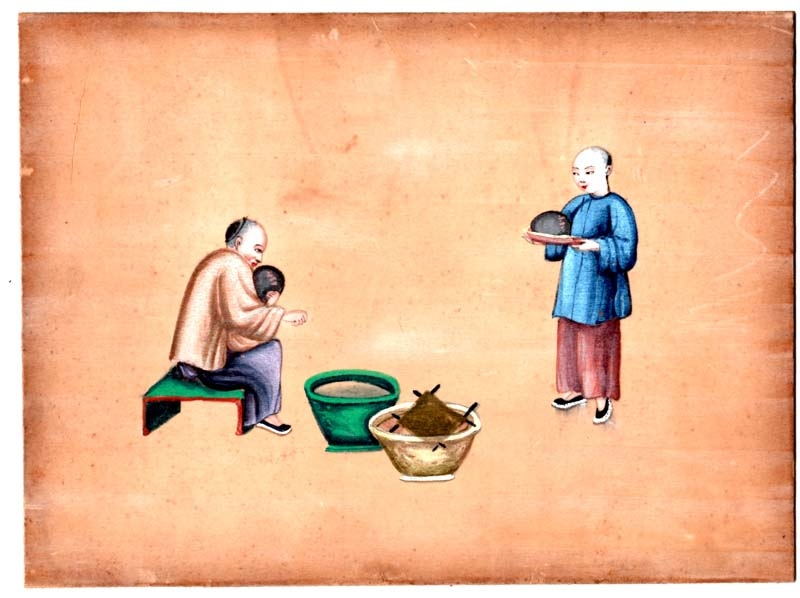 Pintura / Painting   Old chinese oriental watercolour scholar