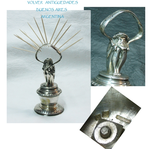 Antiguedades / Antiques   Very rare antique silver plated creature dwarf Christofle toothpick holder VENDIDO / SOLD