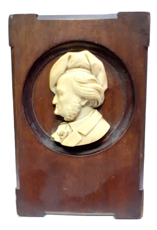 Antiguedades / Antiques   Interesting antique Richard Wagner hand carved profile plaque on cedar frame