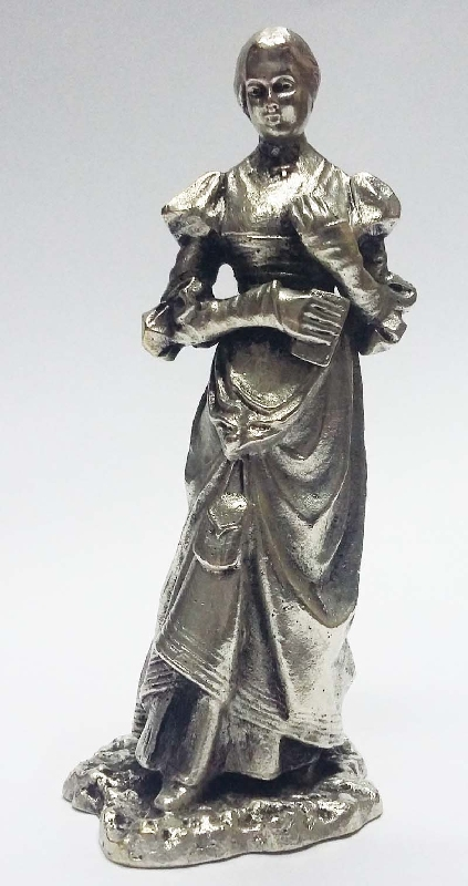 Antiguedades / Antiques   Lovely old french bronze silver plated small lady long dressed