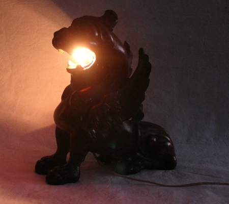 Antiguedades / Antiques   EXTREMELY RARE antique wooden hand carved Gargoyle lamp 26 cm x 24 cm