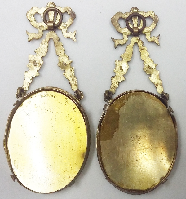Antiguedades / Antiques   Pair antique french oval brass bronze small picture frame